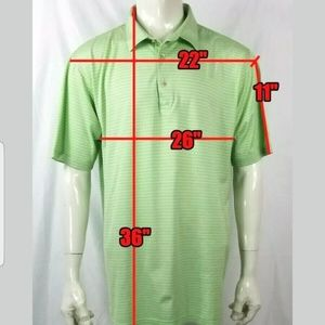 Peter Millar Green White Stripes Polo Rugby 2XL